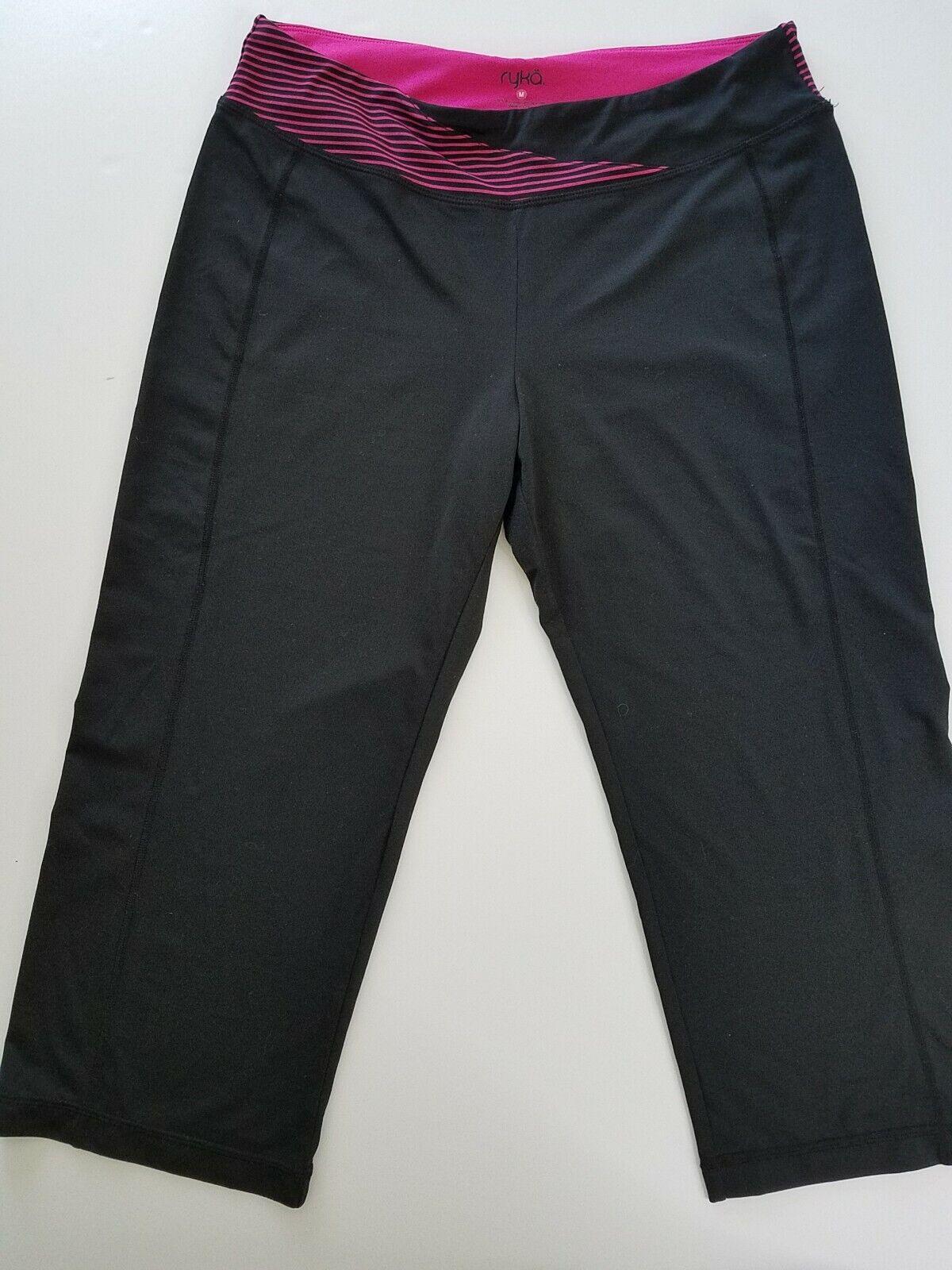 RYKA Women's Medium Black Yoga Capri Pants Athletic Lounge Activewear Stretch