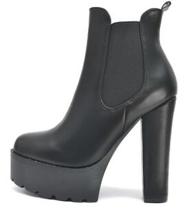 Senora-botines-botas-de-plataforma-tacon-alto-perfil-de-cremallera-parrafo-suela