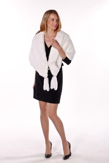 Real Natural White Rabbit Fur Cape Stole Wrap for Women