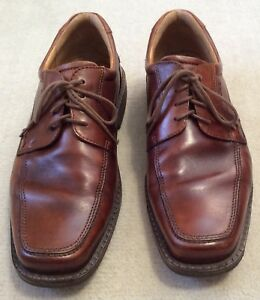 Details about ECCO Mens Shoes Size 45 Brown Leather Oxfords Apron Toe US 11 11.5 Shock Point