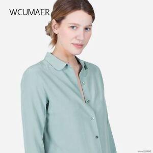 fb66660ab14 Details about Women silk satin blouse button long sleeve White Gold Red  Black lapel elegant