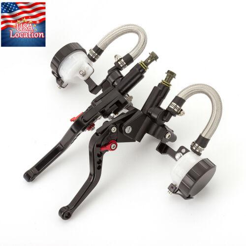 """Motorcycle Master Cylinder Reservoir Pump Clutch Brake Levers 7//8/"""" Black US"""