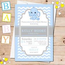 10 Personalizado Niño Azul Lindo Elefante Baby Shower Invitaciones A Fiesta Ν18