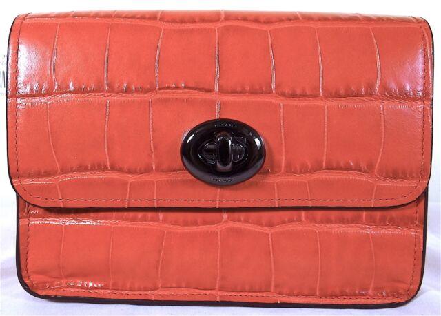 Coach Embossed Croc Deep Coral Leather Turnlock Crossbody Bag 57717