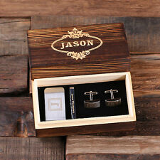 Personalized Men's Gift Set Rectangular Cuff Links Money Clip Tie Clip Wood Box
