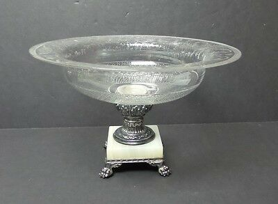 """PAIRPOINT ENGRAVED CRYSTAL 11.75"""" CHALICE VASE, CONTROLLED BUBBLE BASE, c. 1930"""