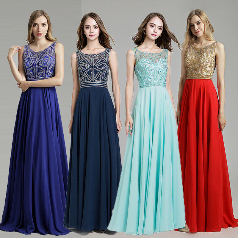 Crystal en mousseline de soie longue bal demoiselle d'honneur soirée robe de bal A-line Party Formal Robe