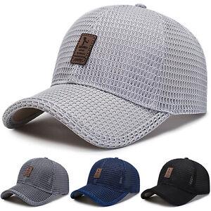 Men-039-s-Baseball-Cap-Trucker-Hat-Snapback-Solid-Visor-Mesh-Plain-Blank-Hats-Caps