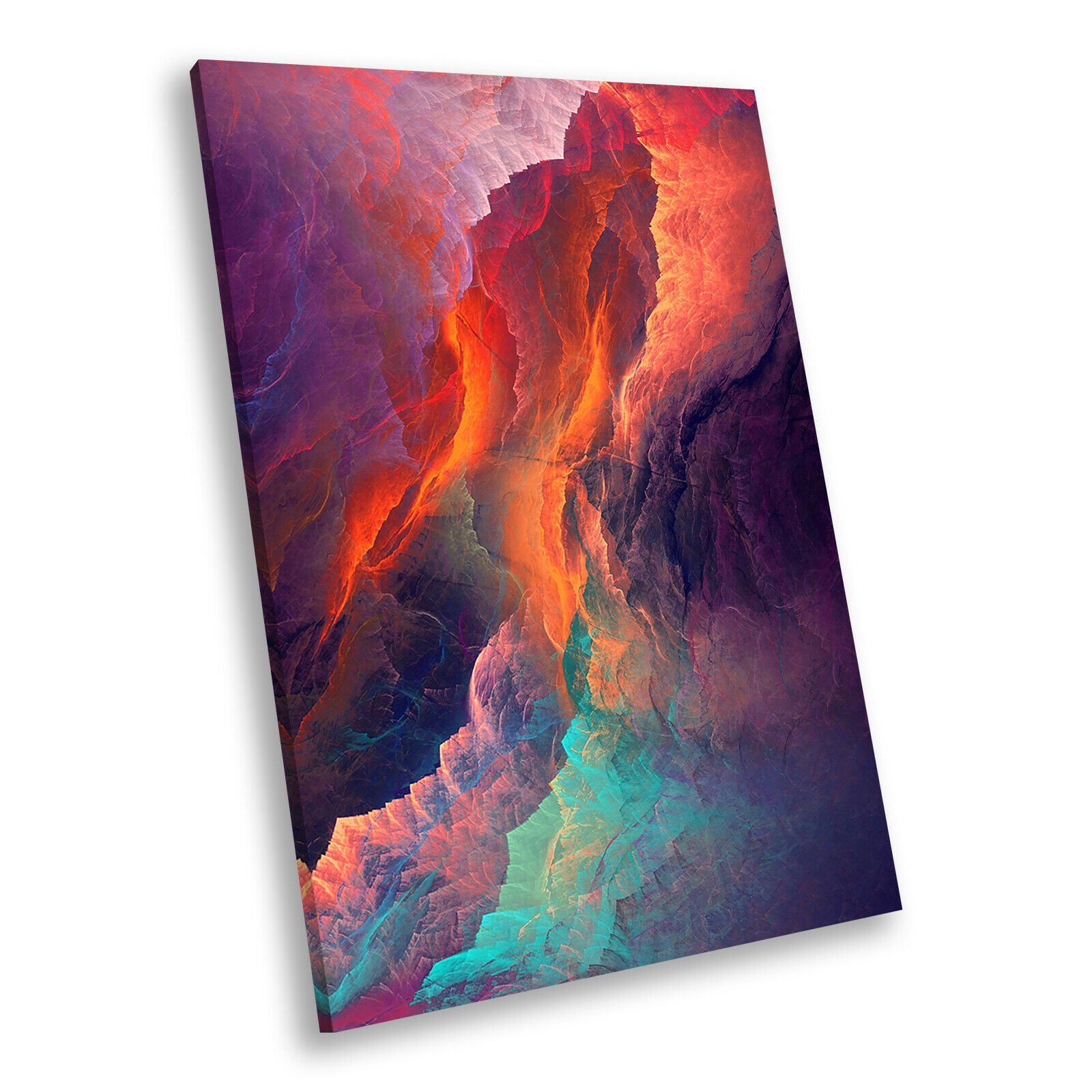 Colourful Orange Blau Portrait Abstract Canvas Wall Art Large Picture Prints