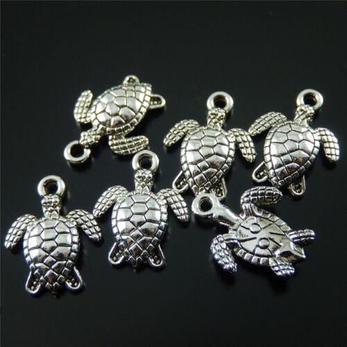 100x Weinlese Silber Legierung Kleine Schildkröten Anhänger Charme Schmuck 52224