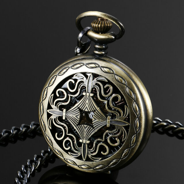 ESS Pocket Watch Stainless Steel Case Mechanical Wind-up Black Bronze Farther