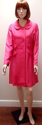 1960 S Rosa Seta Grezza Vestito E Cappotto Set Uk10-mostra Il Titolo Originale