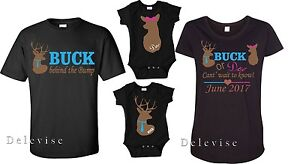 ba0dcbb66a4a7 Buck Or Doe Gender Reveal Baby Shower Maternity Family Cute Matching ...