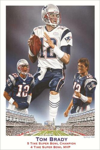 Tom Brady 5 Time Super Bowl Champion 4 Time Super Bowl MVP 36x24 Sports Poster