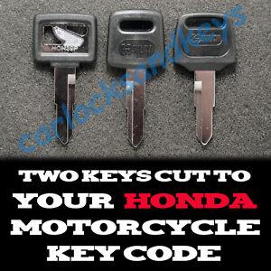 Details about 1983-2018 Honda XR50, 70,80,100,650L Motorcycle Keys Cut By  Code -2 Working Keys