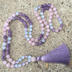 Amethyst Mala Rose Quartz Mala Prayer Beads Chalcedony Mala