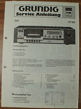 Cassette Player cf500 Deck Grundig Service Manual Istruzioni di servizio
