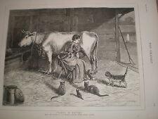 Donna in attesa da S e WALLER 1876 old print MUCCA Mungitrice GATTO e gattini