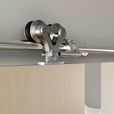 Top mounted stainless steel double head roller sliding barn door hardware