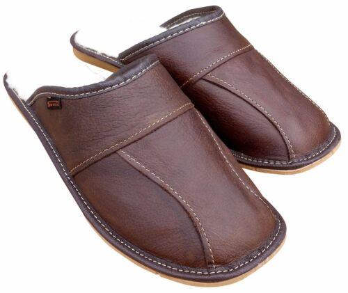 Men/'s Leather Slippers Sheepskin Wool Brown House Shoe Size 6.5-11 Winter Luxury