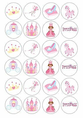 24 Edible Princess Pink Theme Wafer Rice Paper Topper For Cupcake Fairy Cake