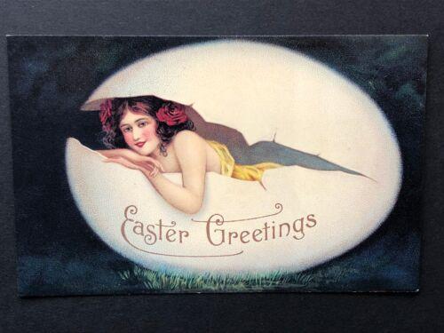 repro vintage postcard EASTER EGG BEAUTY GIRL Pleiades Press p117 NOS