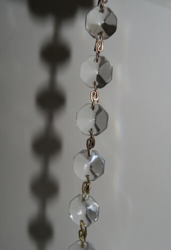 "35/"" vintage Clear Glass Prism garland strand Lamp Chandelier sconce Part brass"