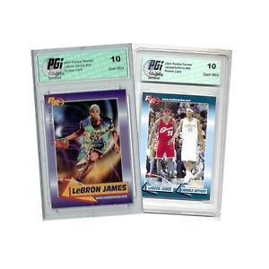 Lebron James #59 & Carmelo Anthony Dual 2004 Rookie Review #92 2 Card Lot PGI 10
