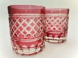 Pair-Vintage-Bohemian-Czech-Cut-Crystal-Whiskey-Rocks-Glass-Red-Hatch-Pattern