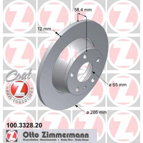 2 Zimmermann Bremsscheiben Audi TT Roadster TTS TDI TFSI V6 286mm voll