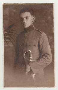 Affectionate Handsome Young Man Cute Face Military Officer Gay Int Photo 1920s