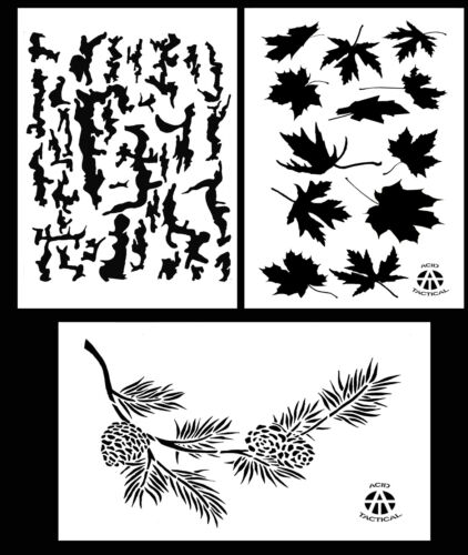 """Spray Paint Camouflage Stencils 14/"""" Tree Bark 3Pack Leafy Maple Pine Branch"""
