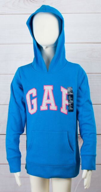 0edf4e75e83 NWT Girl s GAP Kids Hooded Sweatshirt Hoodie Arched Logo Sea Level - 693132