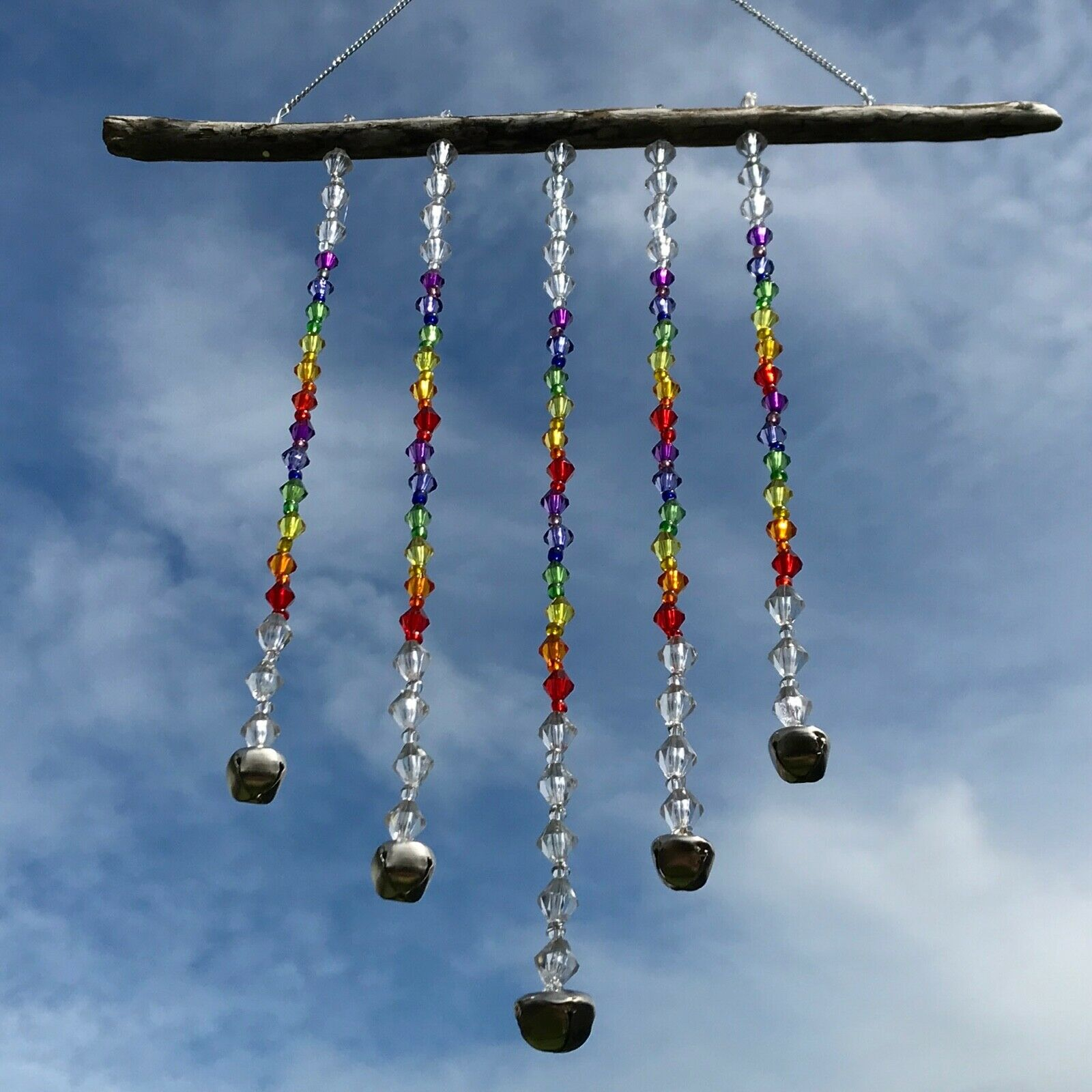 New Rustic Rainbow Beaded Silver Bells Wind Chime Hanging Mobile ~ Pride LGBTQ+