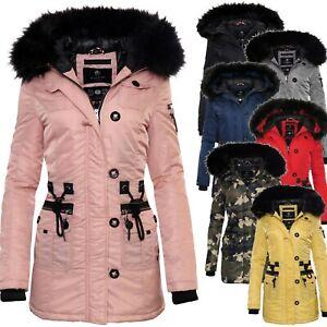 watch c143a f6487 Details zu Marikoo Elle Damen Winter Jacke Parka Damen Jacke Winter Stepp  Mantel Fellkragen