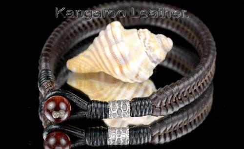 CUSTOM MADE Sterling Silver Kangaroo Leather Tiger/'s Eye Men Bracelet 1B-705