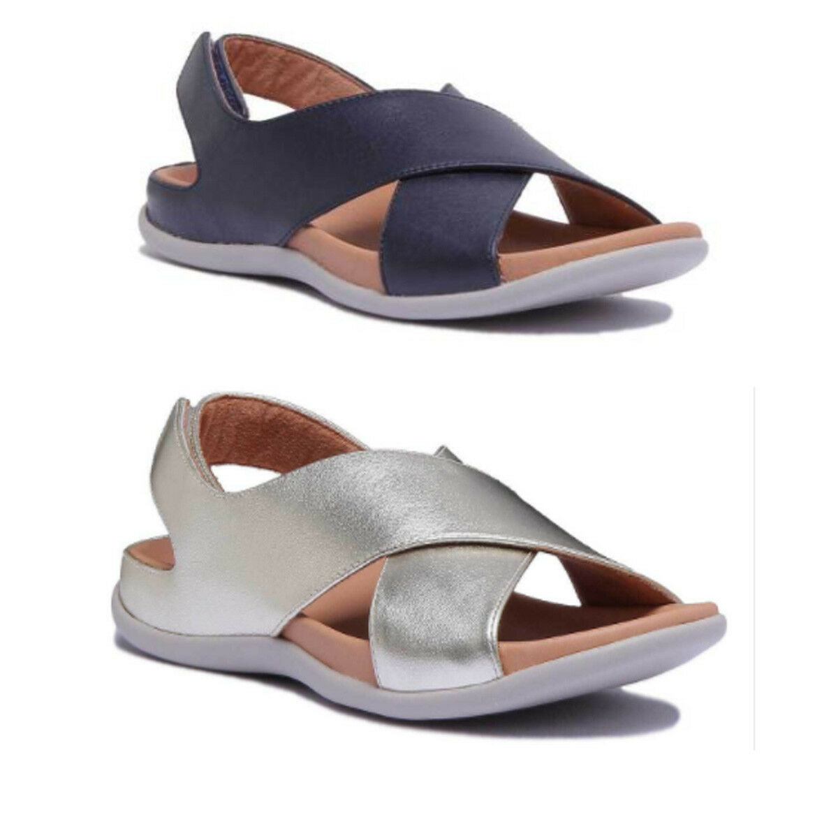 Strive Venice Women Leather Matt Navy Cross Straps Sandals Size UK 3 - 8