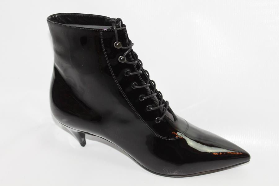AUTH Saint Laurent Women Patent Leather Black Lace Up Boot 37.5