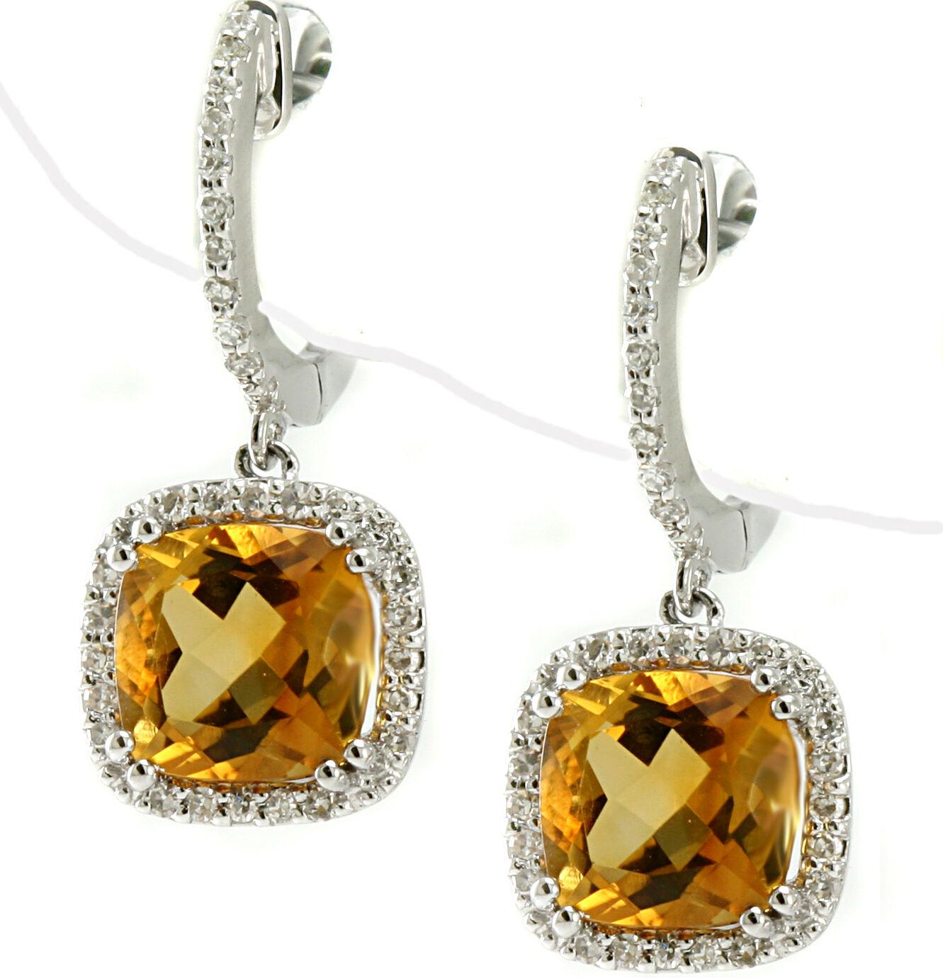 CUSHION-CUT YELLOW CITRINE & DIAMOND HALO DANGLE DROP EARRINGS 14K WHITE gold