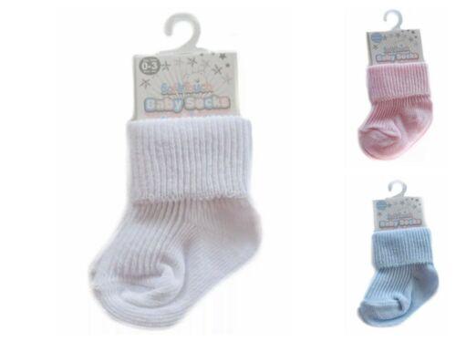 Tiny Baby Plain Pack de 2 Chiffre d/'affaires Cheville Doux Chaussettes Roll Top prématuré