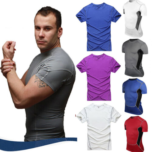 Mens Compression Under Base Layer Tops Sports Fitness GYM Short Sleeve T-Shirts