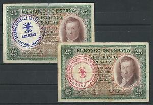 LOTE-2-BILLETES-25-PESETAS-1931-RESELLO-FALANGE-MILICIAS-SEVILLA-Y-MALAGA