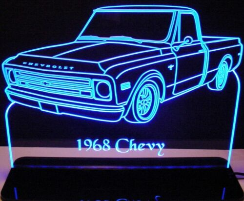 """1968 Chevy Pickup LH Edge Lit Awesome 21/"""" Lighted Sign LED Plaque 68 Mirr USA"""