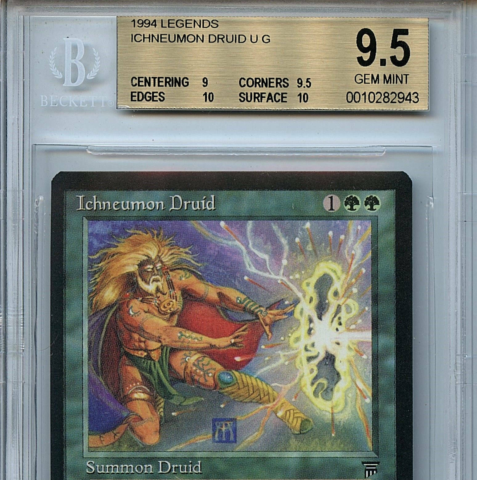 MTG Legends Ichneumon Druid BGS 9.5 Gem Mint Mint Mint card with 2 X 10's 2943 39566b