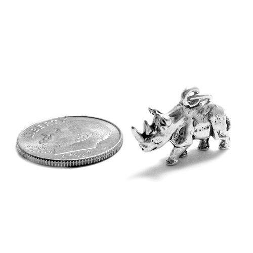 Argent sterling 925 3D Rhinocéros-Rhino charme