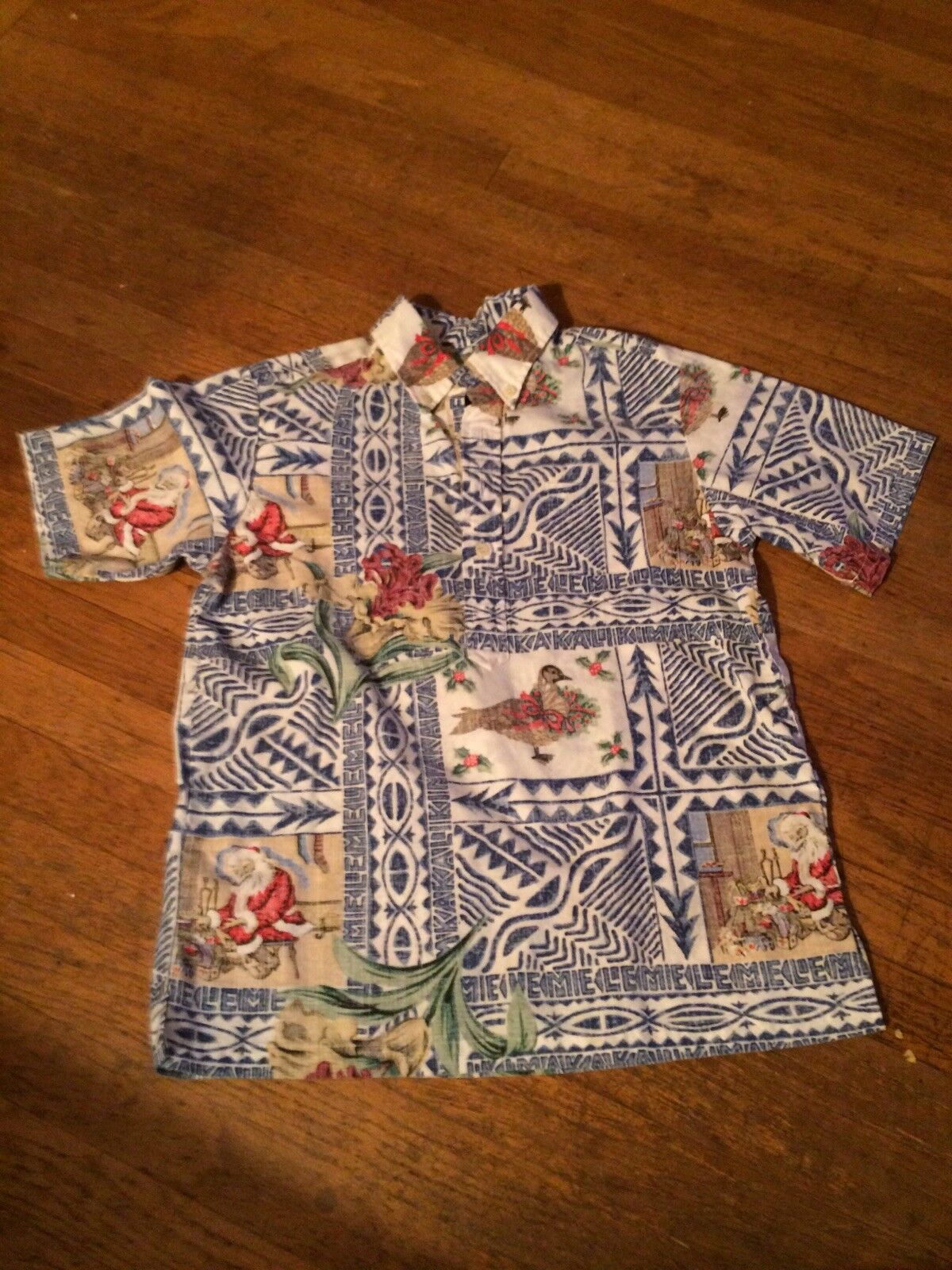 Rare Limited Edit Reyn Spooner Mele Kalikimaka Hawaiian Shirt Christmas 14-16 Sm