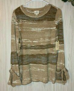NWT St. John's Bay Striped Chenille Sweater Women's Size S Beige Tan Cream