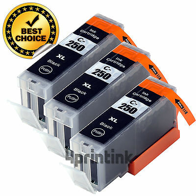 3 Black Ink Cartridge For Canon PGI-250XL 250XL Pixma MG5522 MG5620 PIXMA MG6320