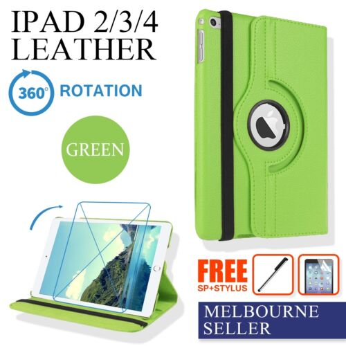 Green iPad 4 4th iPad 3 2 Smart Leather Case Stand 360° Rotate +Screen Protector