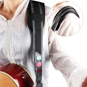 Guitar-Strap-Nylon-Guitar-Pick-Holder-3-Picks-Shoulder-Pad-for-Electric-Acoustic